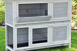 nanook Kaninchenstall Hasenstall Meerschweinchen Kleintierkäfig Bommel grau, mit Heuraufe, wetterfest, 122 x 50 x 103 cm