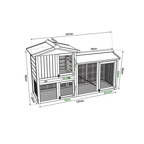 dibea RH10240 Premium Kleintier Stall (147 x 52 x 85 cm), geräumige 2-Etagen Holzhütte, Gehege mit 3 Türen für Kaninchen Hasen Meerschweinchen