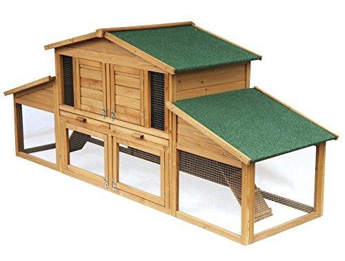 EUGAD Hasenstall Kaninchenstall Massivholz Kleintierstall Hasenkäfig Stall Wetterfest Doppelstöckige 0033HT