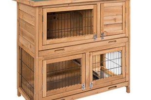 ELIGHTRY Hasenstall, Kaninchenstall Hasenkäfig Kleintierstall Kleintierhaus für Kaninchen Meerschweinche Hellbraun 91,5x45x81cm