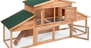 TecTake 403226 Hasenstall mit Freilauf und 2 Etagen, XXL Kaninchenstall für draußen, mit 2 Rampen, wasserabweisendes Dach, 226 x 77 x 95,5 cm