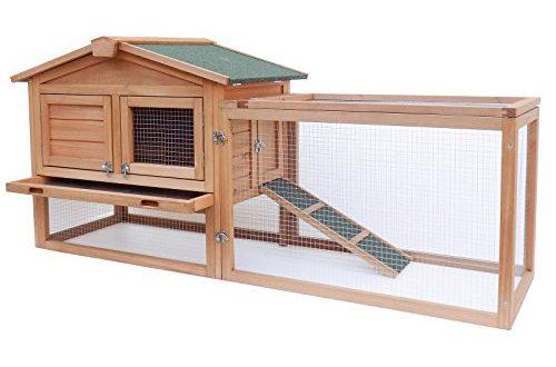 Wiltec XXL Hasenstall Kaninchenstall Freilaufgehege erhöhter Unterschlupf Fichtenholz Teerdach Stall
